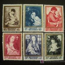 Sellos: BELGICA 1961 IVERT 1198/203 *** PRO OBRAS ANTITUBERCULOSIS - PINTURA. Lote 19623429