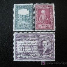 Sellos: BELGICA 1956 IVERT 987/9 *** 2 CENTENARIO DEL NACIMIENTO DE MOZART - MUSICA. Lote 18796494