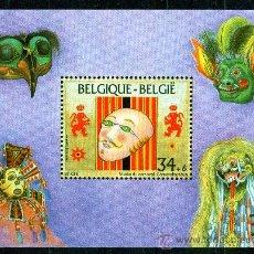 Sellos: BÉLGICA AÑO 1995 YV HB 70*** MUSEO DEL CARNAVAL - MÁSCARAS - ARTE - FOLKLORE. Lote 18736775
