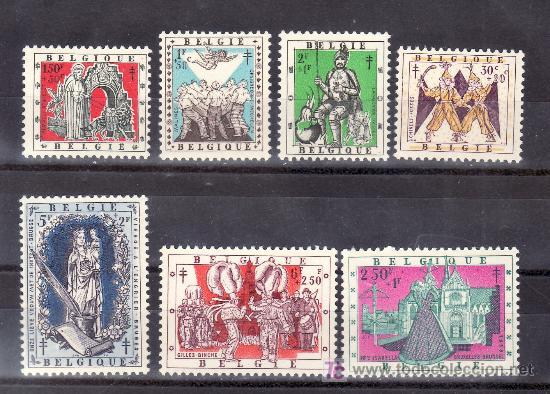 BELGICA 1039/45 SIN CHARNELA, ANTITUBERCULOSOS, RELIGION, (Sellos - Extranjero - Europa - Bélgica)