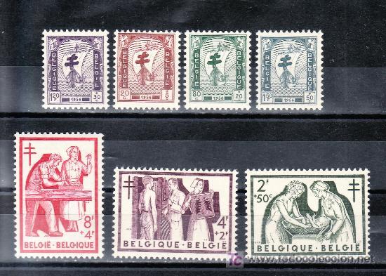 BELGICA 998/1004 CON CHARNELA, ANTITUBERCULOSOS, MEDICINA, (Sellos - Extranjero - Europa - Bélgica)