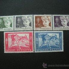 Sellos: BELGICA 1954 YVERT 955/60 *** PRO ANTITUBERCULOSIS - PINTURA. Lote 24302154