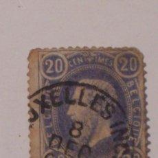 Sellos: BELGIQUE 20 CENTIMOS (SELLO USADO Y CON SEÑAL DE FIJASELLOS). Lote 26222543