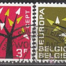 Sellos: BELGICA IVERT 1222/3, EUROPA 1962, USADO. Lote 27894917