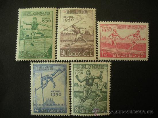BELGICA 1950 IVERT 827/31 * CAMPEONATO DE EUROPA DE ATLETISMO EN HEYSEL - DEPORTES (Sellos - Extranjero - Europa - Bélgica)