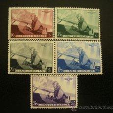 Sellos: BELGICA 1938 IVERT 466/70 *** CONFERENCIA AEREOPOSTAL EUROPEA - AVIONES. Lote 38600769