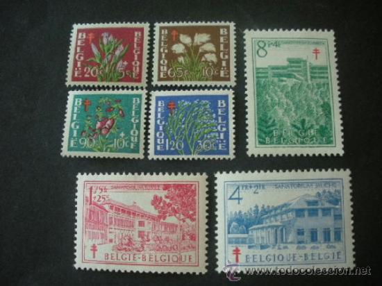 BELGICA 1950 IVERT 834/40 *** PRO ANTITUBERCULOSIS - FLORA - FLORES DIVERSAS Y MONUMENTOS (Sellos - Extranjero - Europa - Bélgica)
