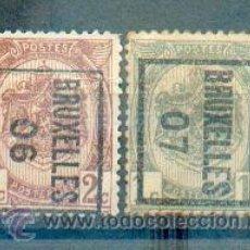 Sellos: BÉLGICA .- PREFRANQUEADOS DE 1906 Y 1907 DE BRUSELAS. Lote 40683973