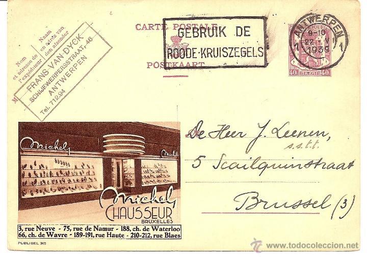ENTERO POSTAL CIRCULADO AÑO 1939 - PUBLICIDAD MICHEL CHAUSSEUR BRUXELLES (Sellos - Extranjero - Europa - Bélgica)