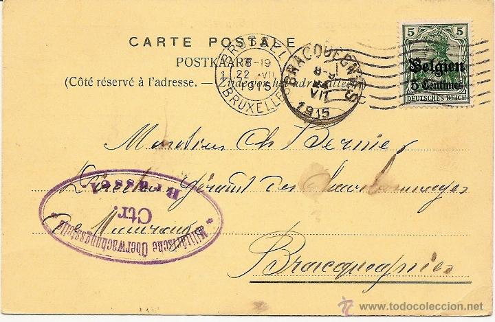 CARTA POSTAL CIRCULADA AÑO 1915 - ARTHUR DECAMPS, BRUSELAS AGENCE DE CHARBONNAGES (Sellos - Extranjero - Europa - Bélgica)