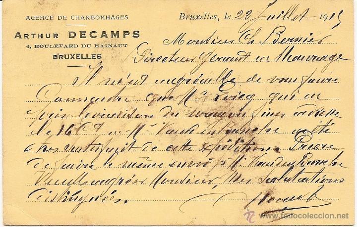 Sellos: CARTA POSTAL CIRCULADA AÑO 1915 - ARTHUR DECAMPS, BRUSELAS AGENCE DE CHARBONNAGES - Foto 2 - 42441878