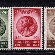 Sellos: BÉLGICA 991/93** - AÑO 1956 - 80º ANIVERSARIO DE LA REINA MADRE. Lote 246189015
