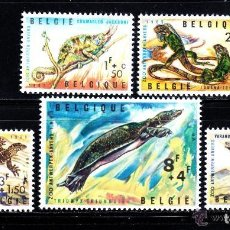 Sellos: BELGICA 1965 IVERT 1344/8 *** FAUNA - REPTILES - ZOO DE AMBERES. Lote 89856960