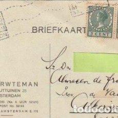 Sellos: TARJETA POSTAL CIRCULADA DESDE AMSTERDAM A ALMACEN DE FRUTAS ALBERIQUE VALENCIA 1928 - -C-6. Lote 108328859