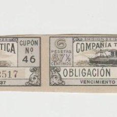 Sellos: COMPAÑIA TRASATLANTICA OBLIGACIONES AÑOS 30 CUPONES. Lote 119306247