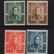 Sellos: BELGICA 807/10** - AÑO 1949 - CENTENARIO DEL SELLO - REY LEOPOLDO I. Lote 246189130