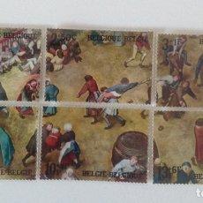 Sellos: LOTE DE 6 SELLOS DE BÉLGICA GRAN TAMAÑO 1967- NUEVOS. Lote 130874516