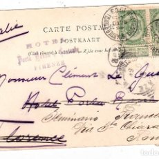 Sellos: MARCA HOTEL ROSSA FIRENZE POSTAL CIRCULADA DE BELGICA A ITALIA AÑO 1903. Lote 132127730