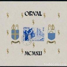 Sellos: BELGICA 1941 ABADIA DE ORVAL HOJA SIN PERFORAR PRIMER DÍA DE CIRCULACIÓN. Lote 134932066