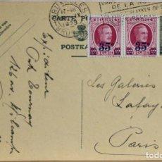 Sellos: BELGICA 1928 • ENTERO POSTAL CIRCULADO A GALERIAS LAFAYETTE PARIS • 14 X 9 CM. Lote 135321354