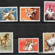 Sellos: BELGICA 1963 - FAUNA DEL ZOO DE AMBERES - YVERT Nº 1182-1187**. Lote 135446606