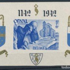Sellos: SELLO BELGICA 1942 ABADIA DE ORVAL HOJA SIN DENTAR. Lote 135771110