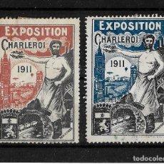 Sellos: BEGICA 1911 2 VIÑETAS DE LA EXPOSICION DE CHARLEROI . Lote 143787986