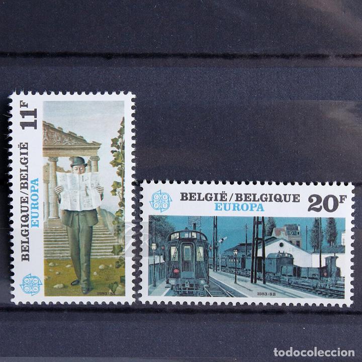 BÉLGICA 1983 ~ EUROPA: ARTE ~ SERIE CON FIJASELLO LUJO (Sellos - Extranjero - Europa - Bélgica)