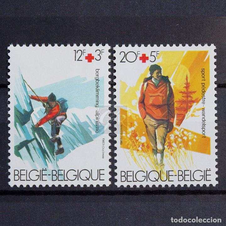 BÉLGICA 1983 ~ CRUZ ROJA ~ SERIE CON FIJASELLO LUJO (Sellos - Extranjero - Europa - Bélgica)