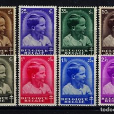 Sellos: BÉLGICA 1936 YT YVERT 438/445 MICHELL 434/441 MNH** NUEVOS LUJO SIN CHARNELA - PRÍNCIPE BALDUINO. Lote 148277438