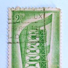 Sellos: SELLO POSTAL BELGICA 1956, 2 FR, CONSTRUYENDO EUROPA, CONMEMORATIVO, USADO. Lote 150168466