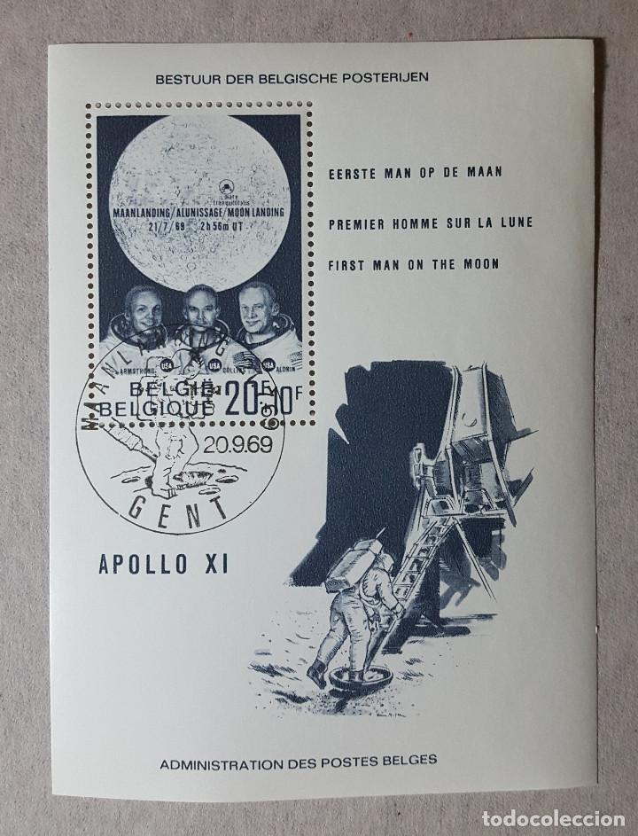 BELGICA 1969 BLOQUE HOJA SOUVENIR APOLO XI PRIMER HOMBRE EN LA LUNA MICHEL BE BL40 (Sellos - Extranjero - Europa - Bélgica)