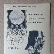 Sellos: BELGICA 1969 BLOQUE HOJA SOUVENIR APOLO XI PRIMER HOMBRE EN LA LUNA MICHEL BE BL40. Lote 150180334