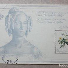 Sellos: BELGICA HOJITA SOUVENIR ROSA DE P. REDOUTE A SU MAJESTAD LA REINA LUISA MARIA USADA. Lote 150180826