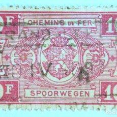 Sellos: SELLO POSTAL BELGICA 1941, 10 FR, RAILWAY STAMP: ESCUDO DE ARMAS, NUMERO EN RECTANGULO IV , USADO. Lote 150181554