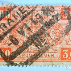 Sellos: SELLO POSTAL BELGICA 1923, 3 FR, RAILWAY STAMP: ESCUDO DE ARMAS VALUE IN RECTANGLE, FIRST ISSU,USADO. Lote 150181626