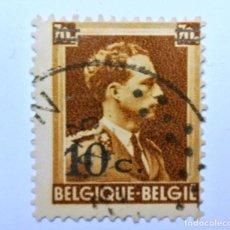 Sellos: SELLO POSTAL BELGICA 1936, 10 C, REY LEOPOLD III, OVERPRINT EN NEGRO, USADO. Lote 150185390