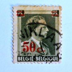 Sellos: SELLO POSTAL BELGICA 1941 ,50 C, REY LEOPOLD III, OVERPRINT EN ROJO, USADO. Lote 150185946