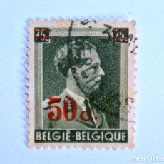 Sellos: SELLO POSTAL BELGICA 1941 ,50 C, REY LEOPOLD III, OVERPRINT EN ROJO, USADO. Lote 150186078