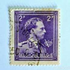 Sellos: SELLO POSTAL BELGICA 1944 , 2 FR, REY LEOPOLD III CON V, USADO. Lote 150303274