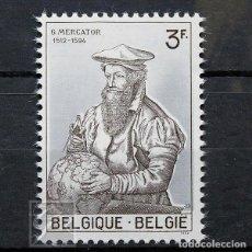 Sellos: BÉLGICA 1962 ~ CARTÓGRAFO GERARD DE KREMER MERCATOR ~ SELLO CON FIJASELLO LUJO. Lote 150581058