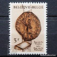 Sellos: BÉLGICA 1961 ~ DÍA DEL SELLO ~ SELLO NUEVO MNH LUJO. Lote 150631962