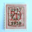 Sellos: SELLO POSTAL BELGICA 1957 , 20 C, PRECANCELADO, NÚMERO SOBRE LEÓN HERALDICO, SIN USAR. Lote 150650138