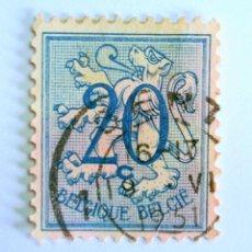 Sellos: SELLO POSTAL BELGICA 1951 , 20 C, NÚMERO SOBRE LEÓN HERALDICO, USADO. Lote 150652006