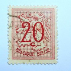 Sellos: SELLO POSTAL BELGICA 1951 , 20 C, NÚMERO SOBRE LEÓN HERALDICO, USADO. Lote 150656002