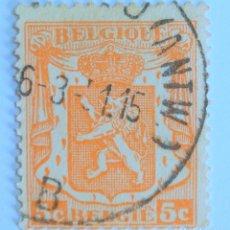 Sellos: SELLO POSTAL BELGICA 1936 , 5 C, PEQUEÑO ESCUDO DE ARMAS, USADO. Lote 150705274