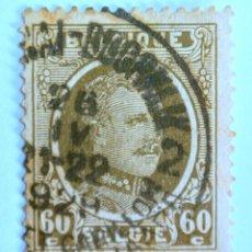 Sellos: SELLO POSTAL BELGICA 1927 , 60 C, REY ALBERT I, TIPO HOUYOUX, USADO. Lote 150706134