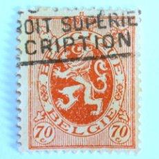 Sellos: SELLO POSTAL BELGICA 1930, 70 C, LEON HERALDICO, USADO. Lote 150706230