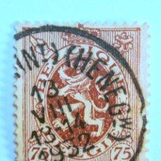 Sellos: SELLO POSTAL BELGICA 1932, 75 C, LEON HERALDICO, USADO. Lote 150706310