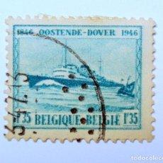 Sellos: SELLO POSTAL BELGICA 1946 ,1,35 F, DESCONEXIÓN DE BARCOS OOSTENDE-DOVER ,CONMEMORATIVO, USADO. Lote 150740098